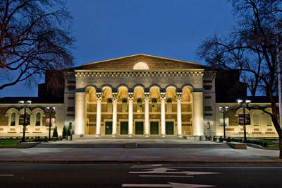 Memorial Auditorium at night